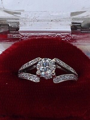 18ct White Gold Diamond Ring Centre Diamond .78ct with1.07tcw Val $6500 Colour G