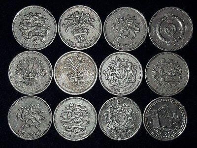 12, 1 Pound Coins from England.  1983-2004.  No Reserve!!
