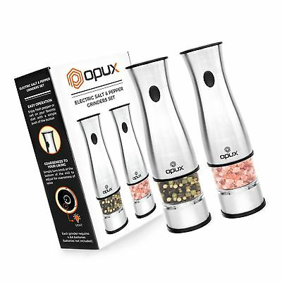 21598438d94f OPUX Premium Deluxe Electric Salt and Pepper Grinder Set | Automatic Pepper  M..