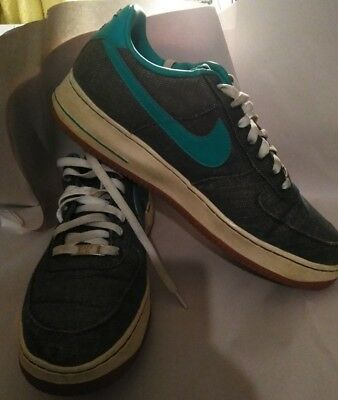 Men Nike air force one  canvas /leather  blue gray  low cut Sz 13