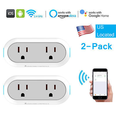 US Smart WIFi Plug Work With Echo Alexa Google Home Dual Outlet Socket 2-pack