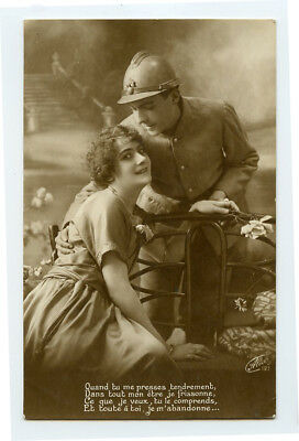 WWI ww1 First World War One First HANDSOME FRENCH Solidier & Wife photo postcard