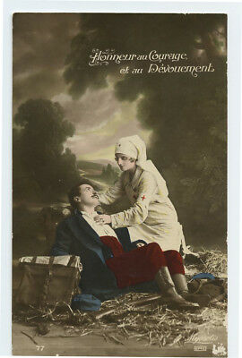 WWI ww1 First World War One First Wounded Soldier RED CROSS NURSE photo postcard
