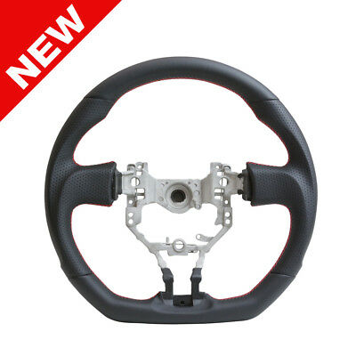 2013-2017 FRS BRZ D Flat Bottom Steering Wheel - Black Leather w/Red Stitch