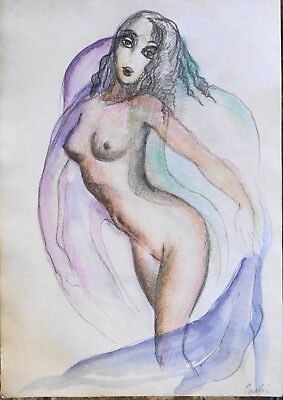 Vintage nude woman watercolor painting pencils DRAWING SIGNED, titled SALOME