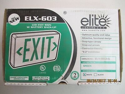 ELITE LED Wall Exit Sign w/Battery Back-Up Green/White ELX-603-G