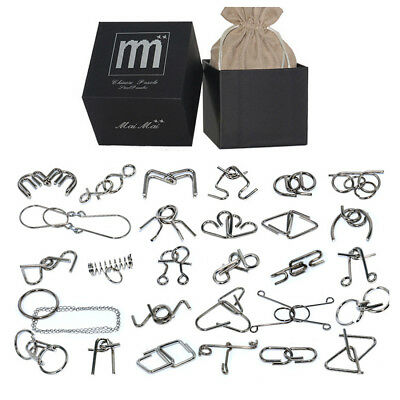 28Pcs Black Box Metal Wire Puzzle Ring Brain Teaser Classical Intellectual Toy