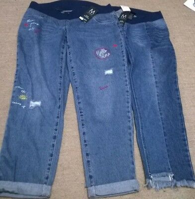BNWT bundle Next maternity jeans size 14 cropped embroidered frayed denim blue