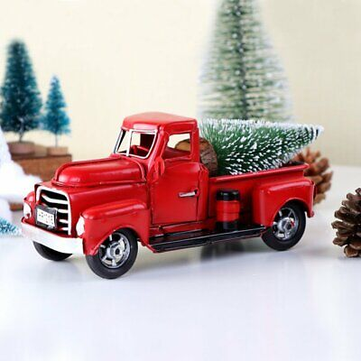 Christmas Vintage Red Metal Truck Ornament Kids Xmas Toy Table Top Decor Gifts