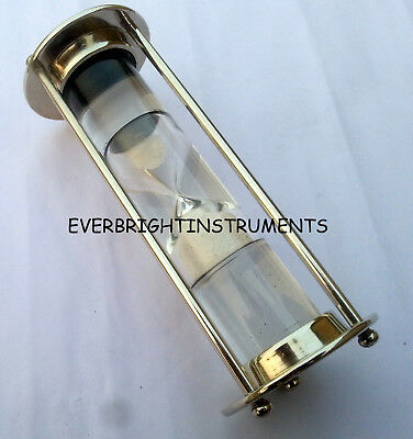 Maritime Brass Nautical Hourglass Antique Sand Timer Table Top Accessory Gift