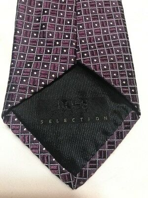 Hugo Boss Selections Men's Purple Tie 100% Silk Made In Italy