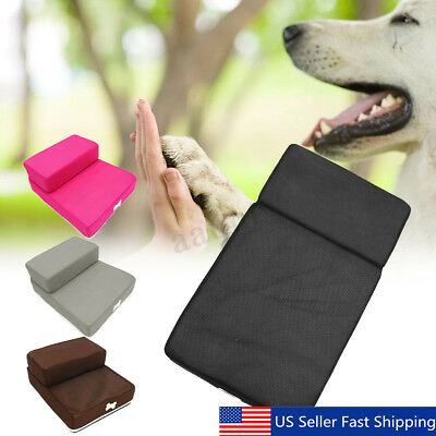 2 Step Pet Stairs Pure Color Dog Puppy Cat Sofa Bed Indoor Soft Ramp Ladder USA