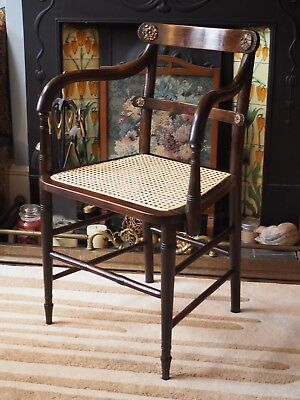Antique Regency Caned Chair Oak Desk Armchair Carver Antique Vintage Circa 1820