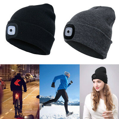 Unisex Outdoor Sports Winter Warm Berretto a maglia Beanie Hat with 4LED Light