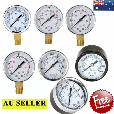 """New Water and Air Pressure Gauge New 1/8"""" Brass Thread 0-15 PSI 0-1 Bar QE"""