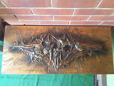 Copper Wall Panel Arts & Crafts 1960's 70's signed STUNNING