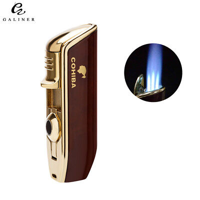 COHIBA 3 Torch Flame Cigar Lighter Punch Tobacco Cigarette Red Chrome Gift box