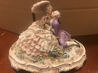 Luigi Fabris French Porcelain Couple In Love Holding Each Other Figure. No. 722