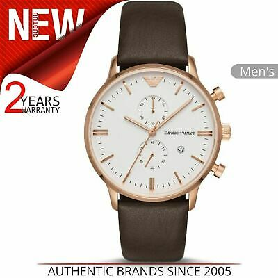 Emporio Armani Men's Watch AR1936¦Chronograph Dial¦Brown Leather Strap Watch