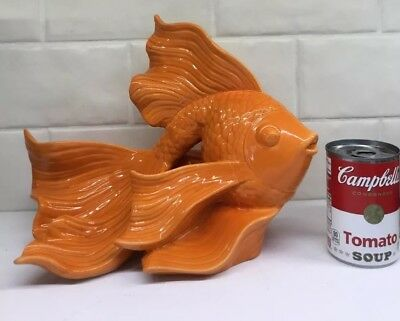 "FABULOUS FIND! FANTAIL ORANGE GOLDFISH 11"" Wide 9"" Tall Porcelain Ceramic"