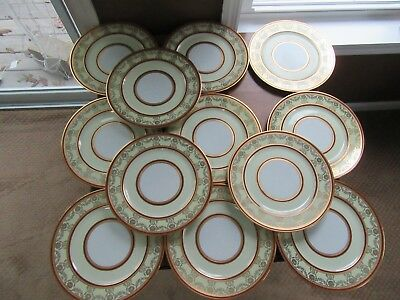 12 - Limoges Gold Encrusted Filigree Swags Burgandy Bands Dinner Plates Charger