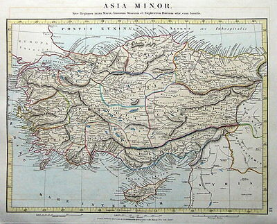 TURKEY, CYPRUS, ASIA MINOR Arrowsmith original antique map 1828