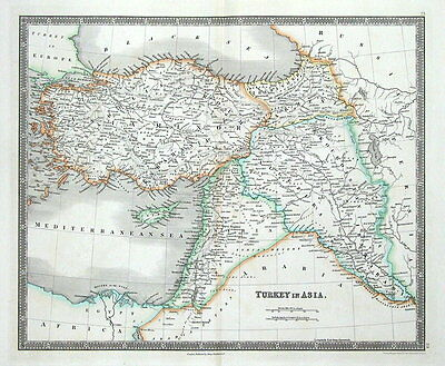 TURKEY IN ASIA, CYPRUS, ISRAEL, SYRIA, IRAQ, ARMENIA, Teesdale antique map 1841