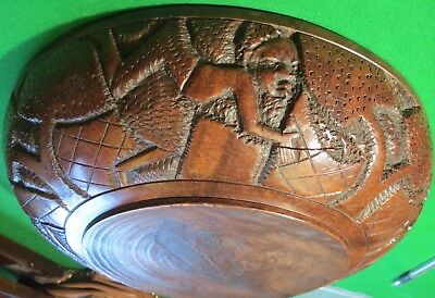 Antique carved African Bowl late 19th early 20th cent