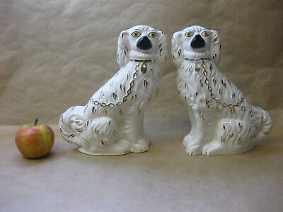Pair of Vintage Staffordshire Wally / Mantel Dogs ~ Spaniels ~ Chain & Padlock