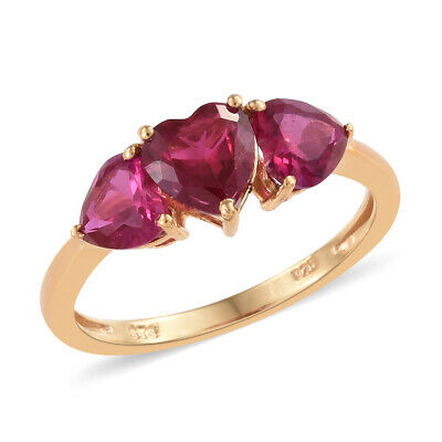 Silver 14K Yellow Gold Plated Ruby Cubic Zirconia Heart Trilogy Ring