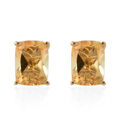 Silver 14K Yellow Gold Plated Citrine Stud Solitaire Earrings Cttw 3.6