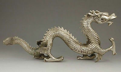 Collection Chinese Tibetan silver handwork carved mythology Dragon statue