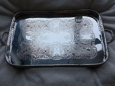 Vintage Silver Plate On Copper Gallery Tray / Drinks Tray