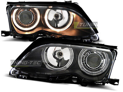 Coppia di Fari Anteriori per BMW E46 Serie 3 2001-2005 Angel Eyes Neri IT LPBM86