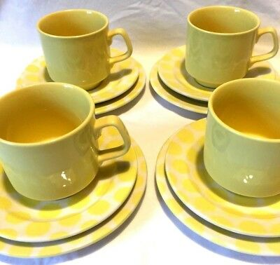 Vintage Tams Cups, Saucers and Plates, set of 4 - yellow polka-dots, stunning!