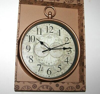 Wall Clock - Old Map Design Fob Style Light Bronze Case (24cm) *NEW*