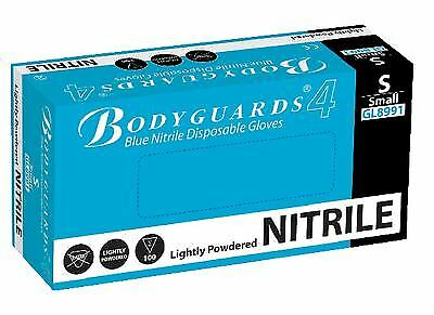 10 x boxes 100 Bodyguard 4 Blue Nitrile Lightly Powdered Free Disposable Glov...