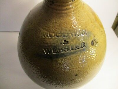 """Fine Antique Bulbous Ovoid 12"""" Stoneware Jug c.1840-GOODWIN and WEBSTER, Conn"""
