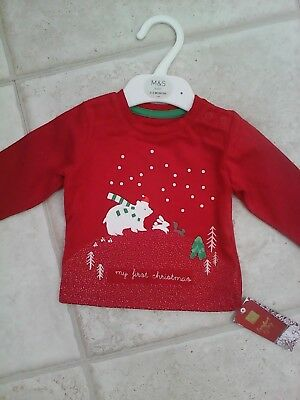 """Bnwt Red Top """" First Christmas"""" Marks & Spencer 0/3 Mt3/6 Mth 6/9Mth 9/12 Mths"""