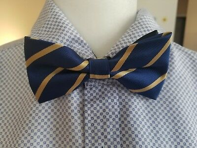 Bow Tie Clip On Blue Stripes Adjustable Pre-tied Unisex All Ages Polyester