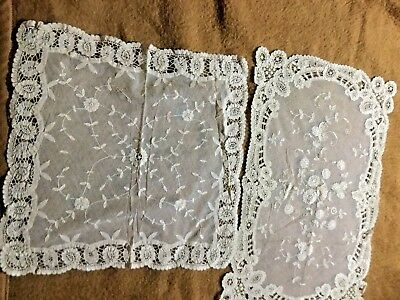 """2 pieces of lovely normandy lace one is 12 """"x 18"""" and the other  13"""" x 14"""""""