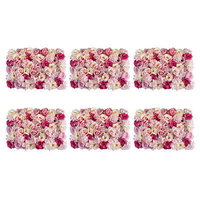 6pcs Upscale Artificial Flower Wall Panel Wedding Backdrop Decor Rose Pink