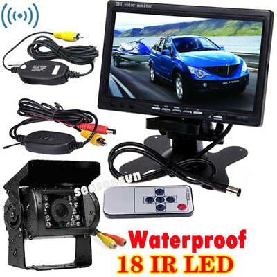 """Wireless 18LEDs IR Night Vision Backup Rear View Camera +7"""" Monitor for RV Truck"""