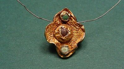 Ancient Gold Garnet & Emerald (?) Cross Pendant Roman-Byzantine 300-600 Ad