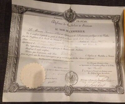 Diplome Ancien Empire Bachelier En Sciences 1858 Toulouse Français