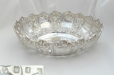 Rare Irish Victorian Hm Sterling Silver Embossed Fruit Bowl 1897