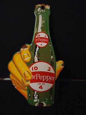 Old Used 1953 Dr. Pepper 10-2-4 Porcelain Door Sign (No Reserve)