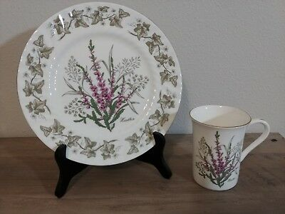 Flowers of Scotland, St. Andrews Pottery, Bone China Plate AND Mug - Heather
