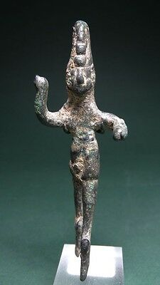 ANCIENT STATUE OF GOD BAAL (?) BRONZE , PHOENICIAN 2nd-1st MILLENNIUM BC