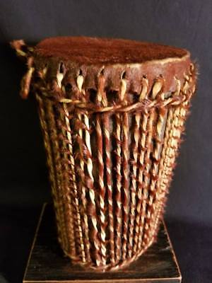 """African Drum Animal Skin Covered Wood Hand Made 7 1/2"""" Tall"""